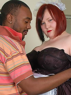 Massive tits maid Nikki sucking and fucking a big black dick