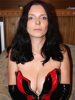 Alternative amateur with latex gloves and fetish underwear exposes her amazing large knockers